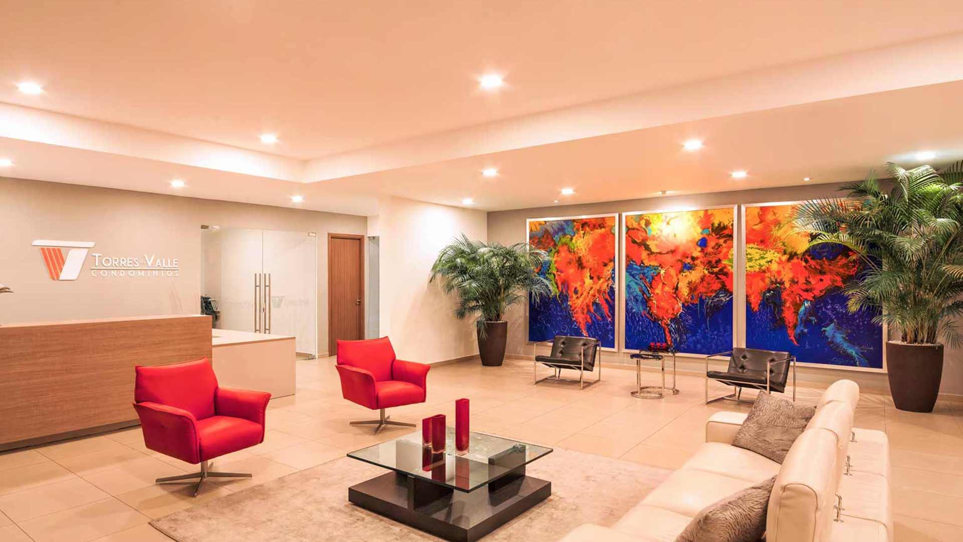 Lobby principal del Condominio Torres Del Valle · Vive con estilo en San Pedro Sula, Honduras.